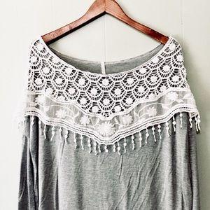 • bellamie lace crochet soft gray tunic tee •